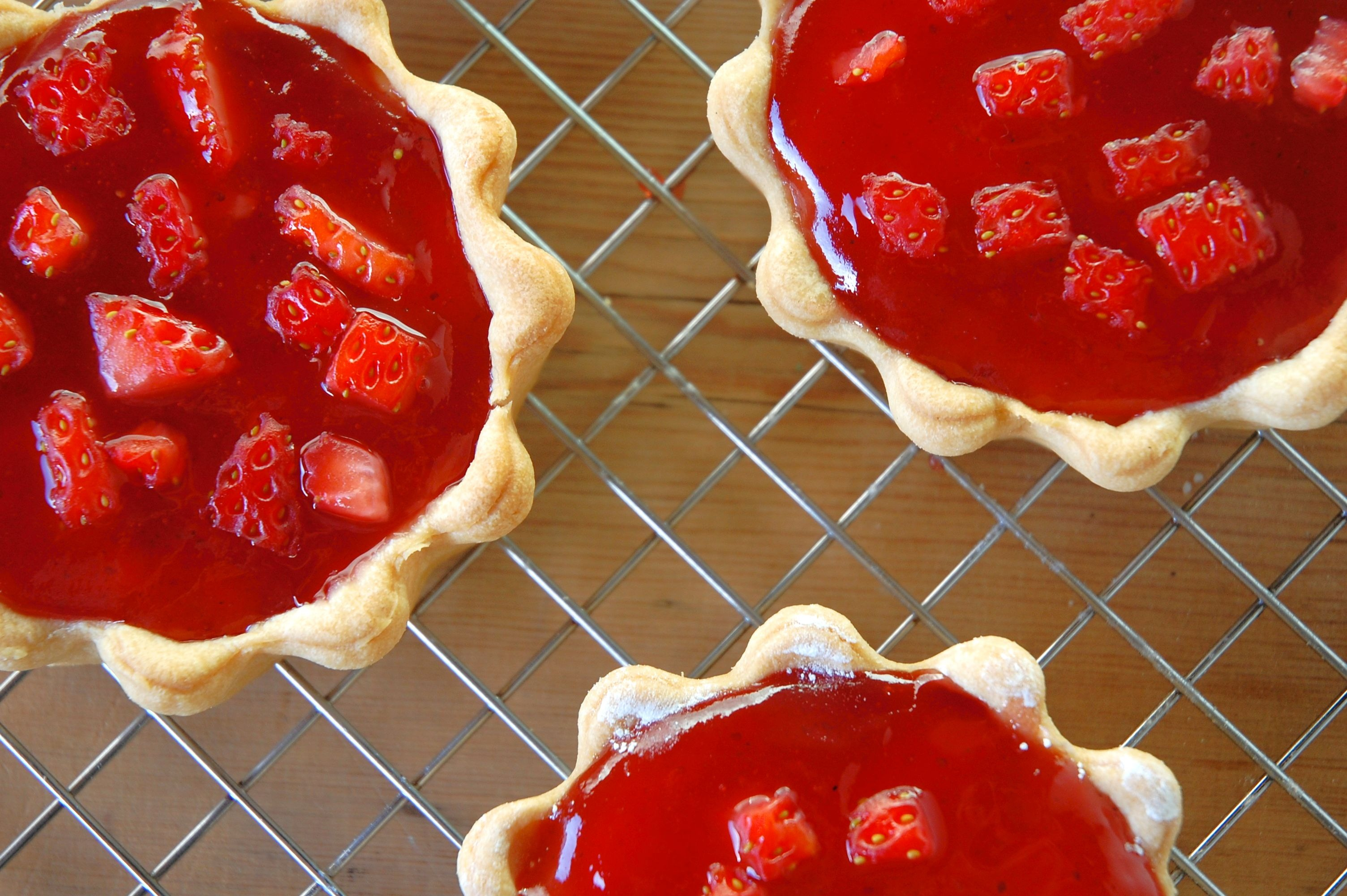 Mini strawberry jam and cream tarts