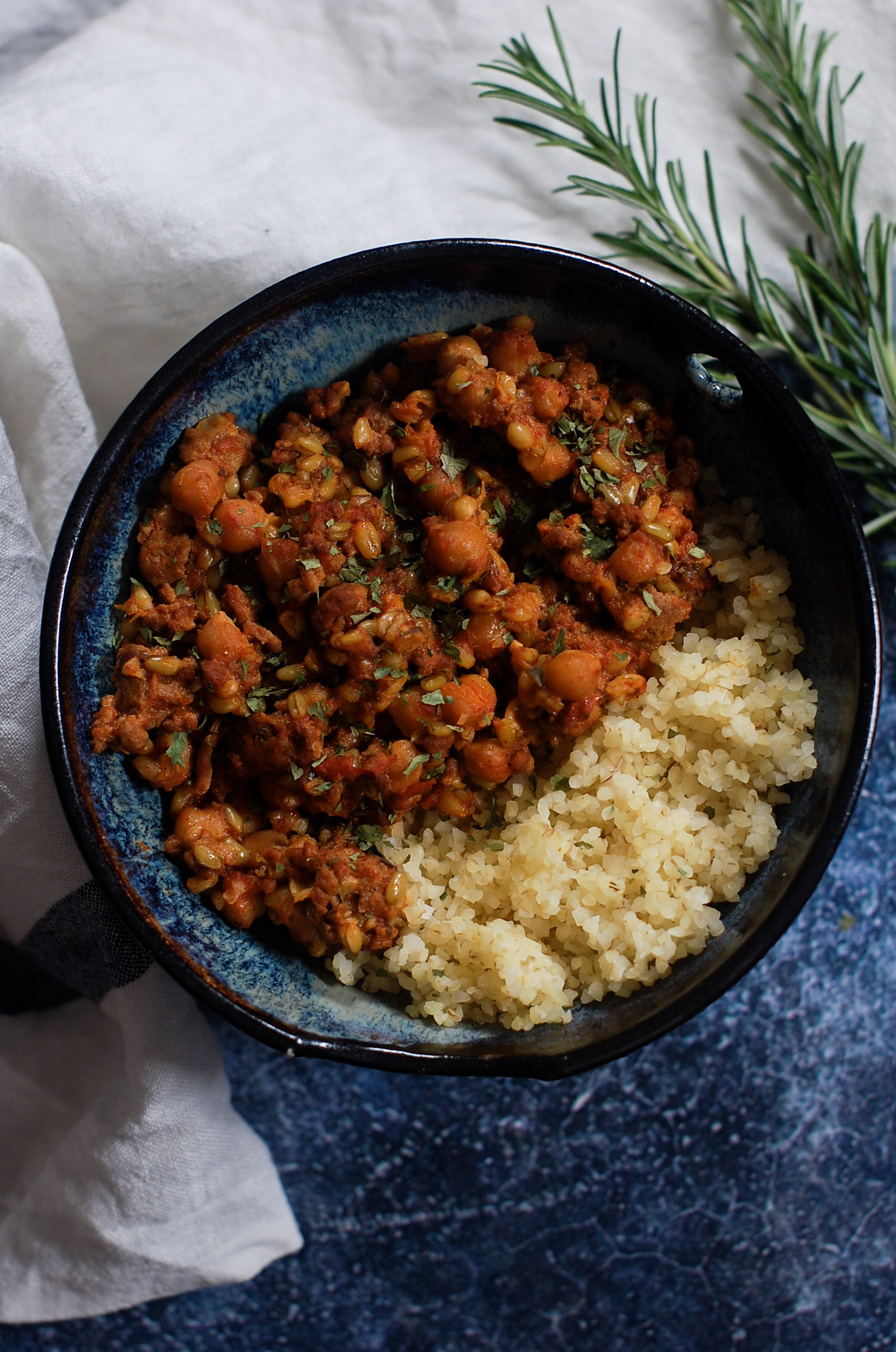 Lamb and Chickpea Chilli with Freekeh