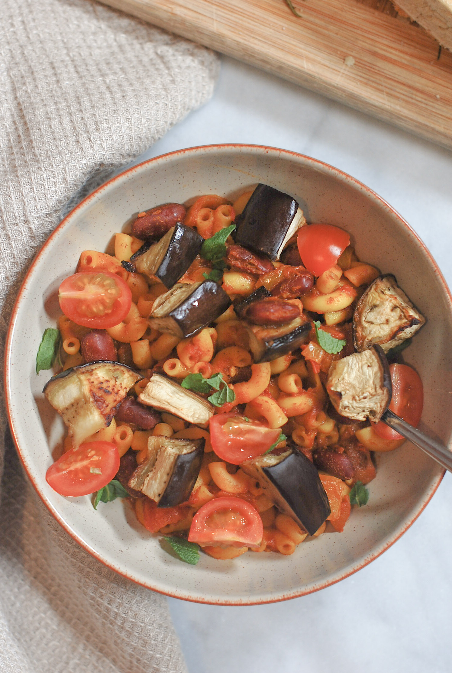One-Pot Aubergine Pasta