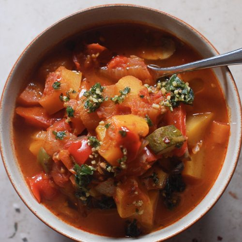 a bowl of vegetable casserole