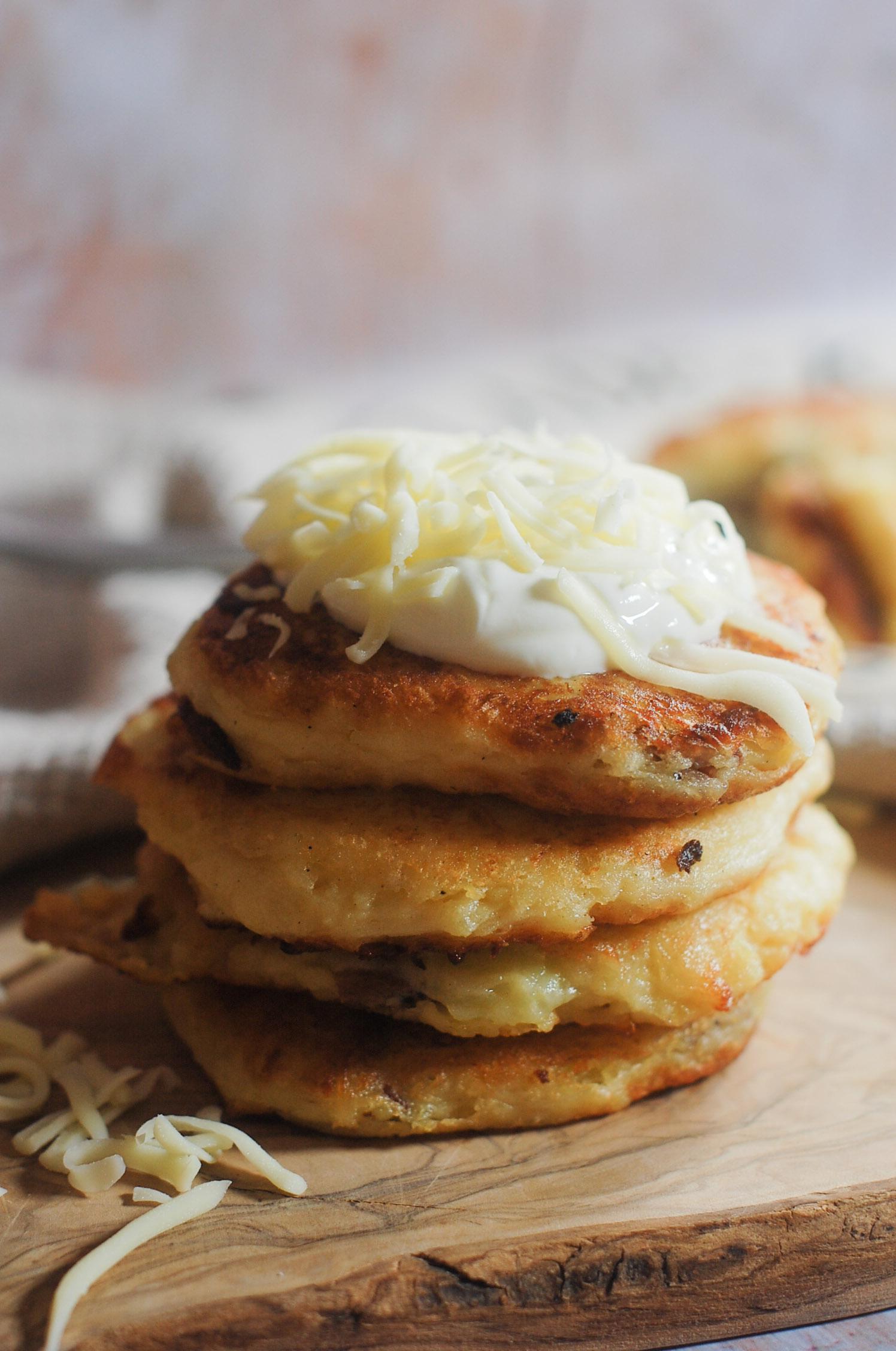Leftover Mashed Potato Mozzarella Cakes