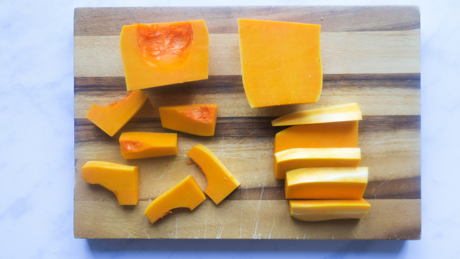 Butternut cut into sections