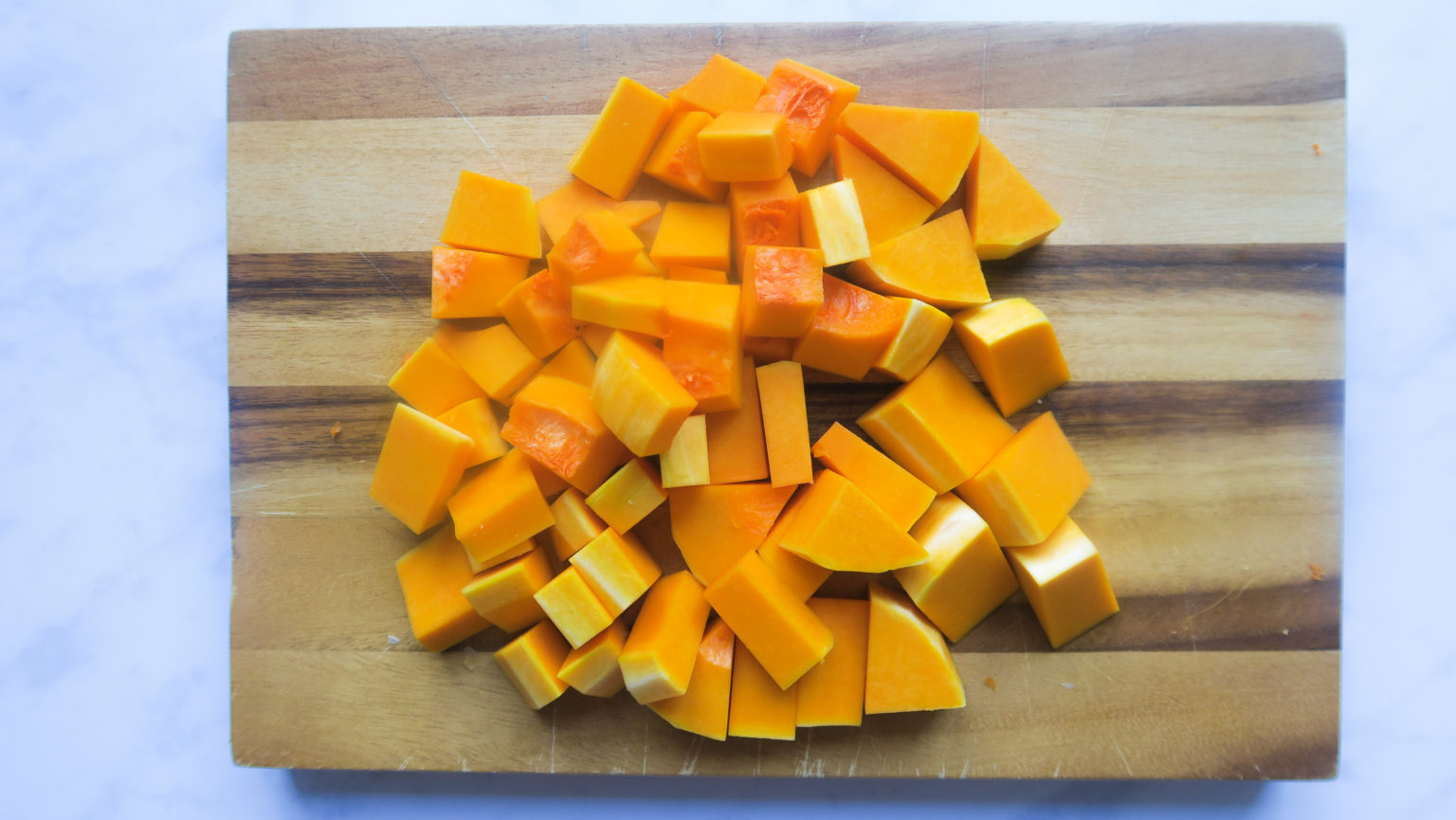 A pile of chopped butternut