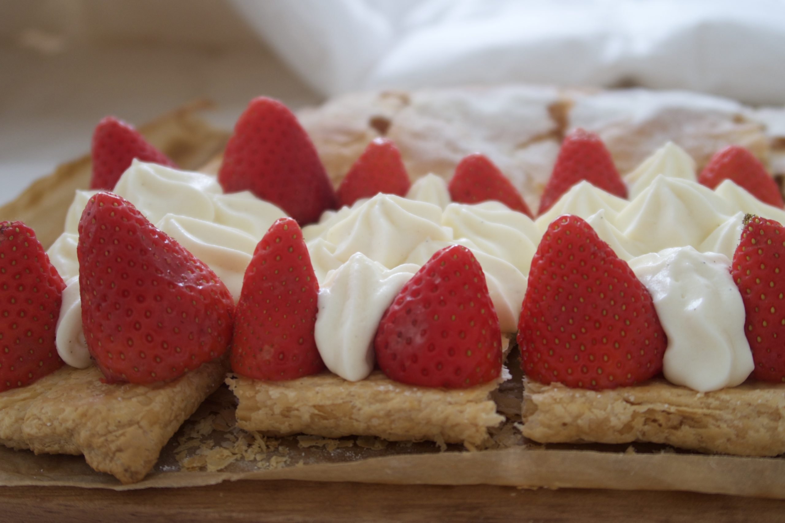 side shot of filled mille-feuille with tops off