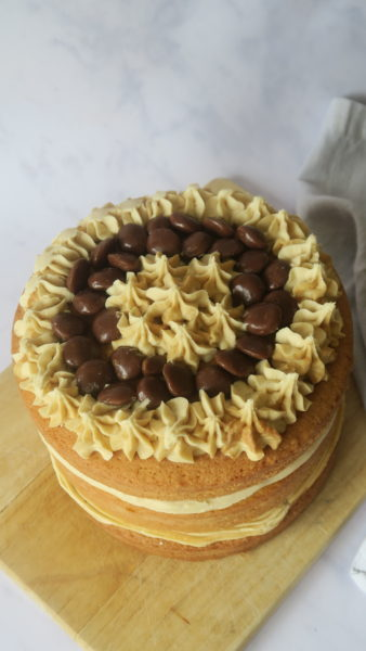 The top layer of sponge decorated with buttercream and milk duds