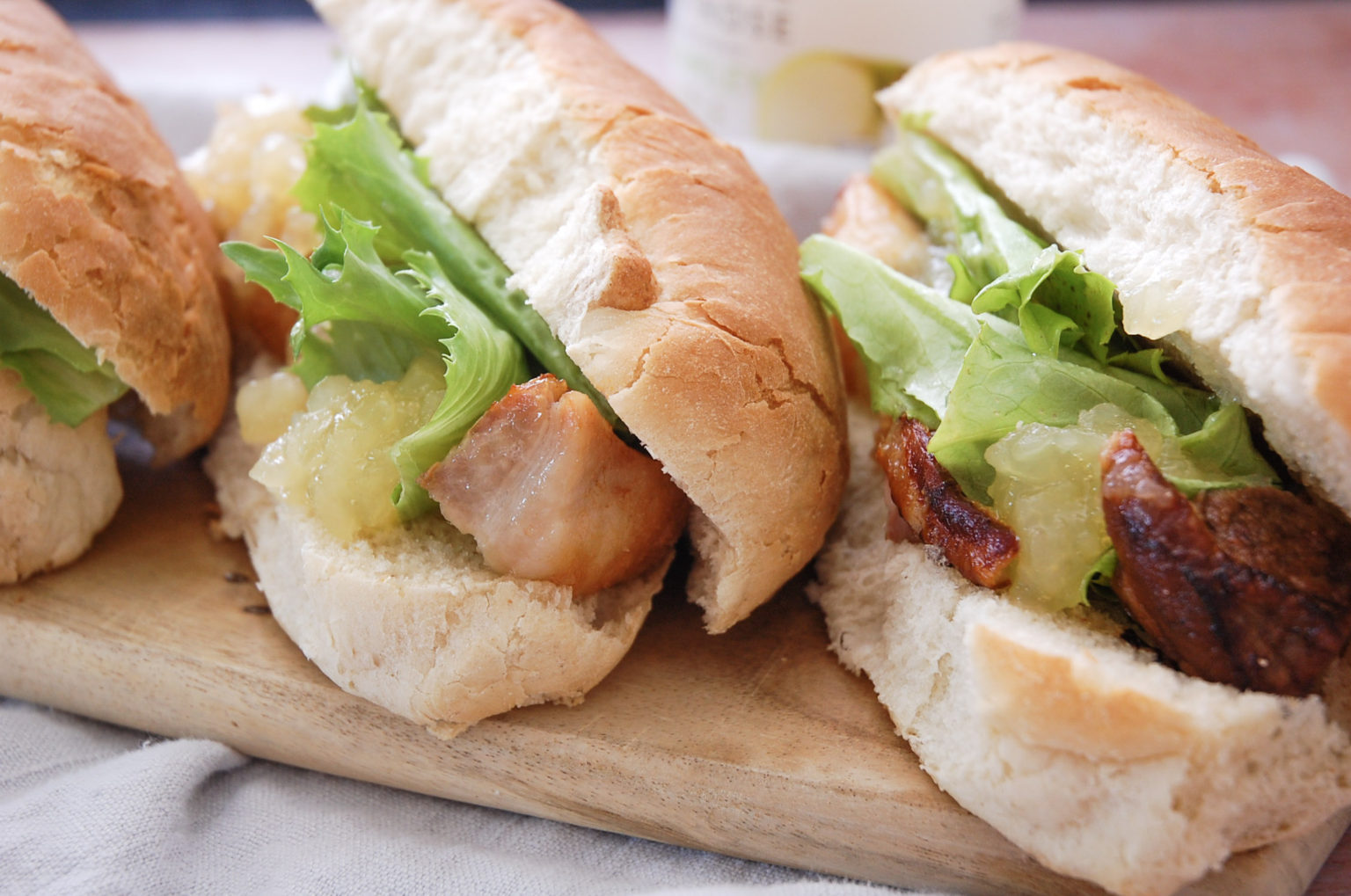 Crispy Pork Belly Sandwich with Apple Sauce