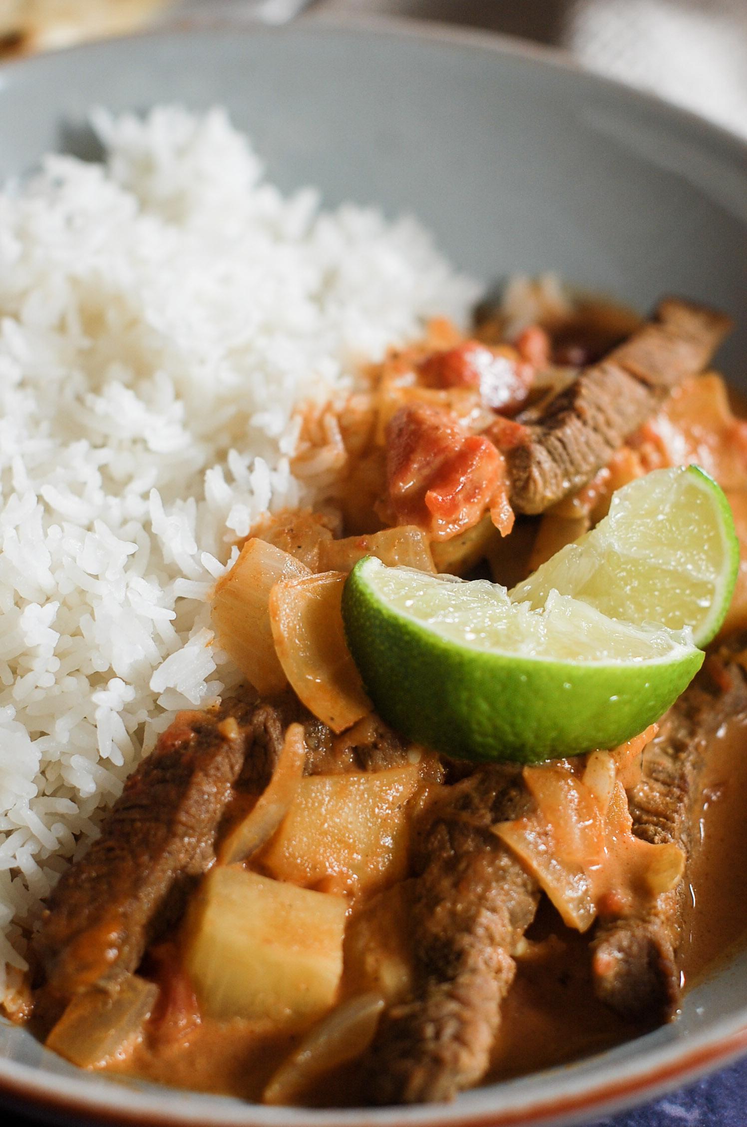 mild coconut beef curry
