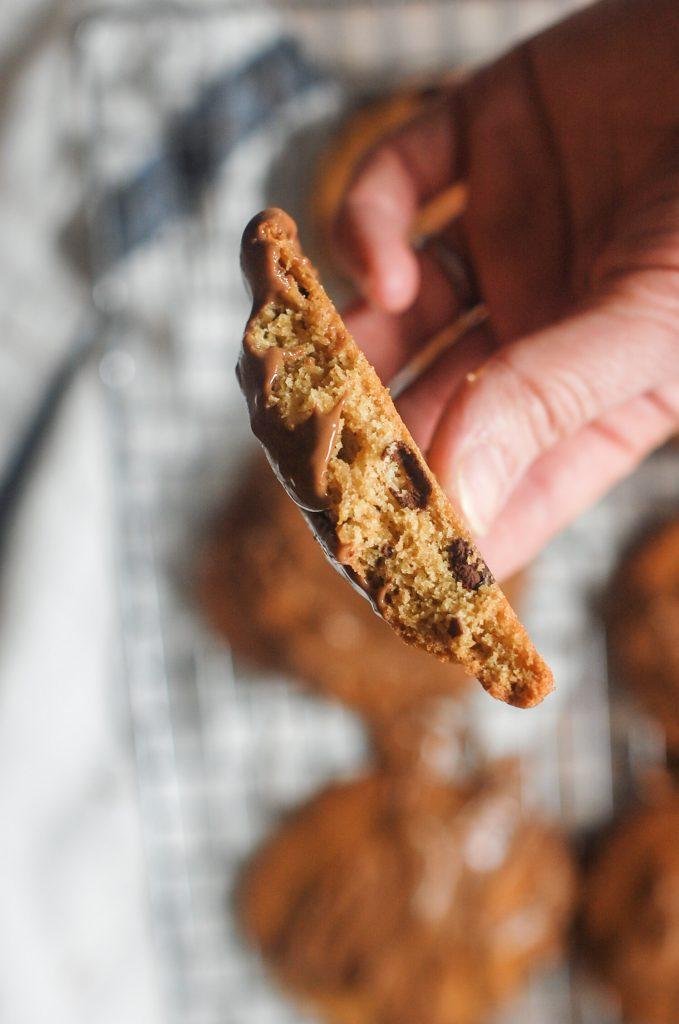 Half a crisp peanut butter cookies