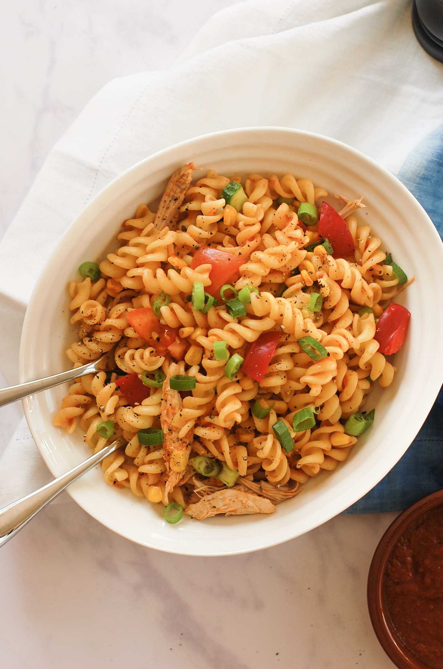 BBQ chicken pasta salad in a bowl