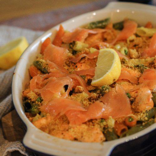 salmon pasta bake