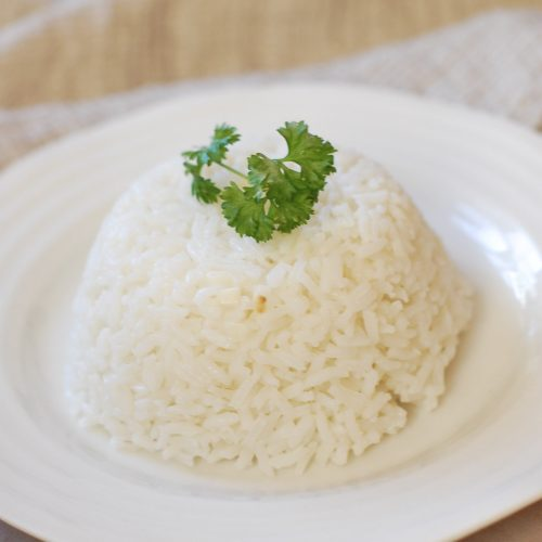 white rice on a plate.