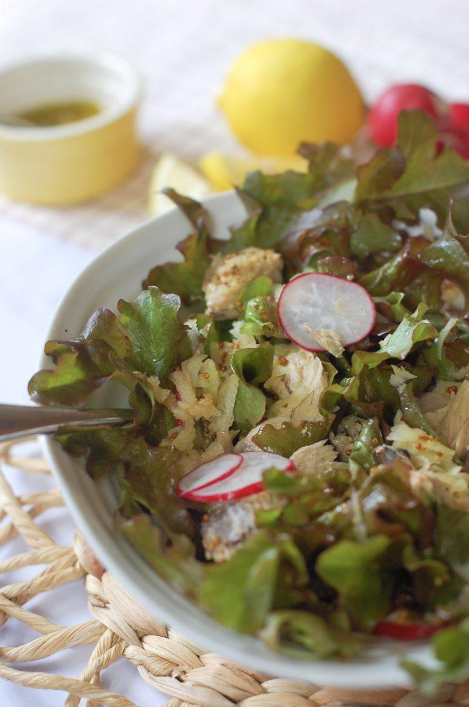 Half a bowl of mackerel salad