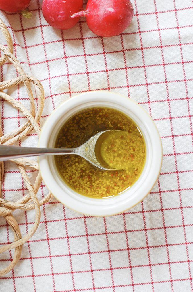 A little pot of lemon vinaigrette