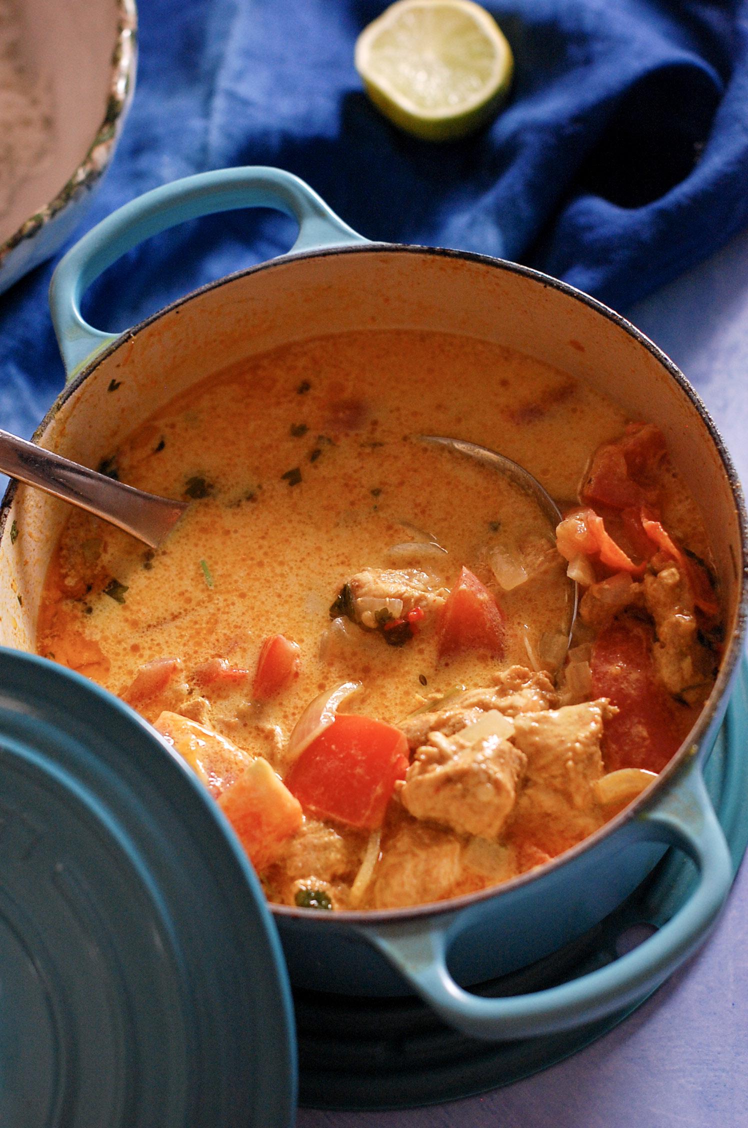 chicken curry in a casserole pot
