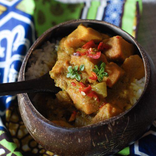sweet potato stew in a coconut bowl