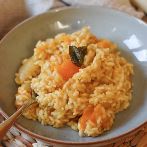 squash risotto in a bowl